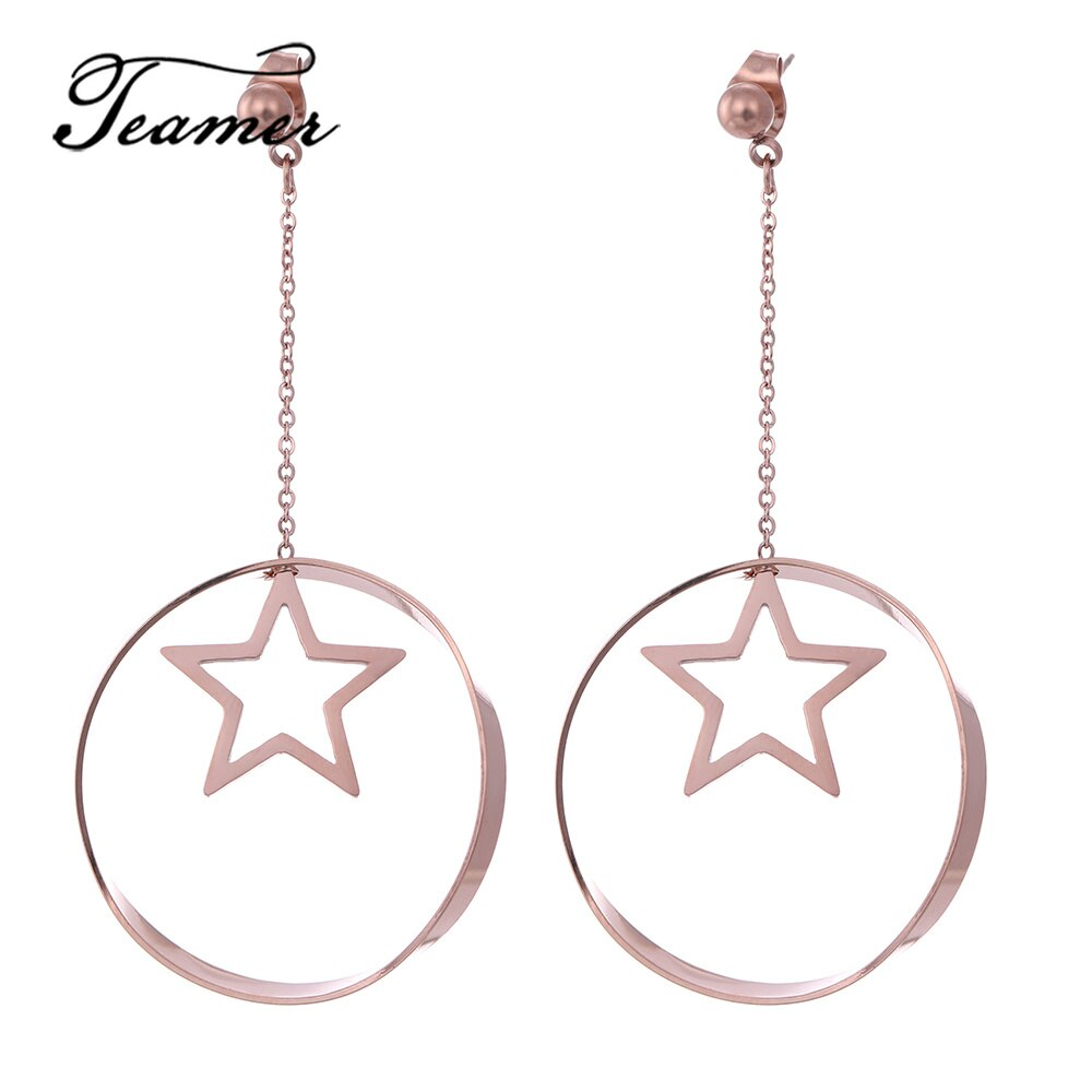 [해외]Teamer Simple Korean Earrings Stainless Steel Pentagram Star Circle Drop Earrings for Women Long Big Party Jewelry Brincos 2019/Teamer Simple Kore