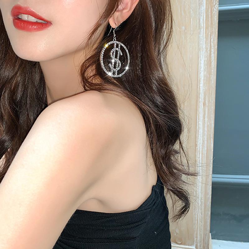 [해외]Aensoa 패션 여성을위한 새로운 미니 멀리 즘 crytal 라운드 드롭 귀걸이 2020 럭셔리 머니 서명  미국 달러 라인 석 귀걸이 쥬얼리/Aensoa 패션 여성을위한 새로운 미니 멀리 즘 crytal 라운드 드롭 귀걸이 2020 럭셔리