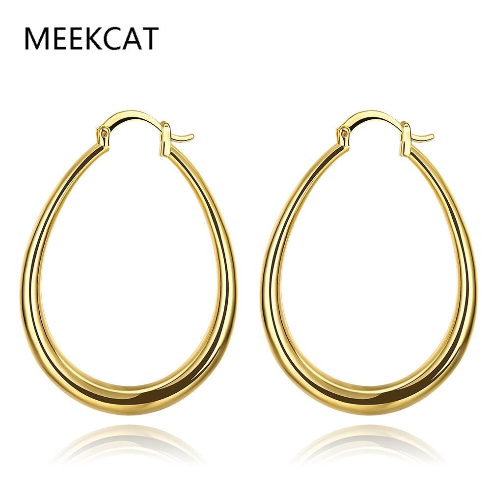 [해외]MEEKCAT 골드 컬러 힙합 빅 후프 귀걸이 스테인레스 스틸 여성 쥬얼리 미니멀리스트 타원형 원형 Huggie 귀걸이 어머니의 선물/MEEKCAT Gold Color Hiphop Big Hoop Earrings Stainless Steel Women Jewel