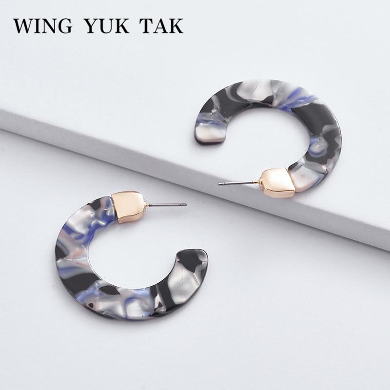 [해외]날개 yuk tak 여성을클래식 후프 Earings 간단한 아세트산 수지 패션 라운드 귀걸이 쥬얼리 액세서리/wing yuk tak Classic Hoop Earings For Women Simple Acetic Acid Resin Fashion Round Ea