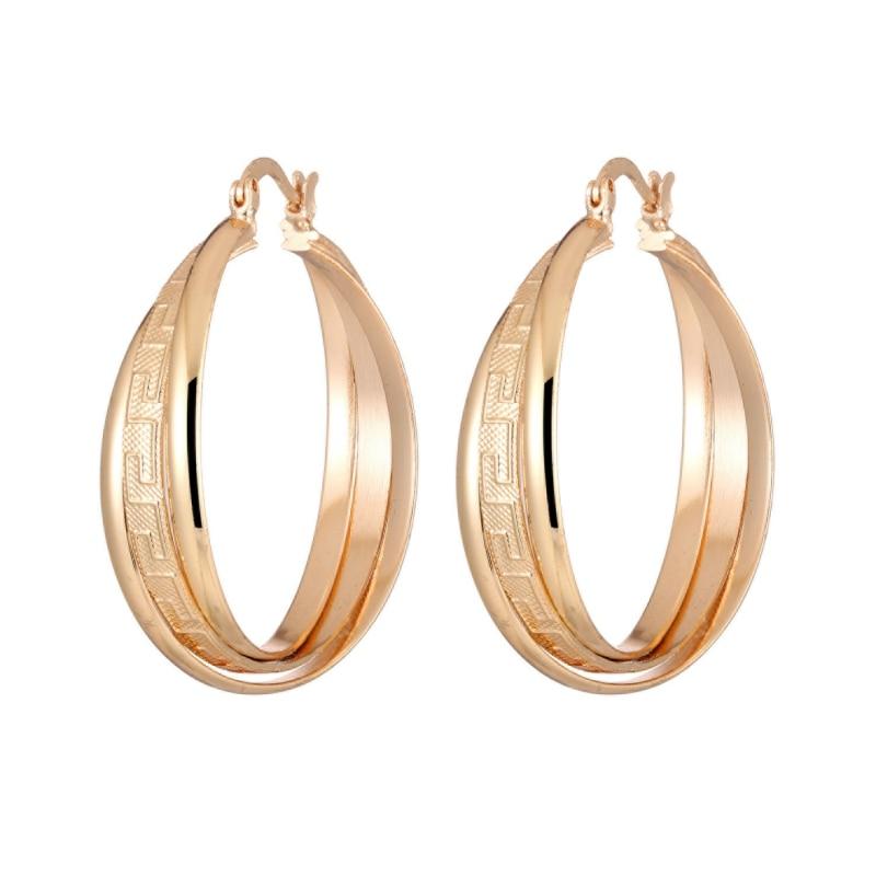 [해외]New Arrival Vintage Multi layers Great Wall  Gold Color Hoop Earring Women Jewelry Gift ZK40 35mm size /New Arrival Vintage Multi layers Great Wal