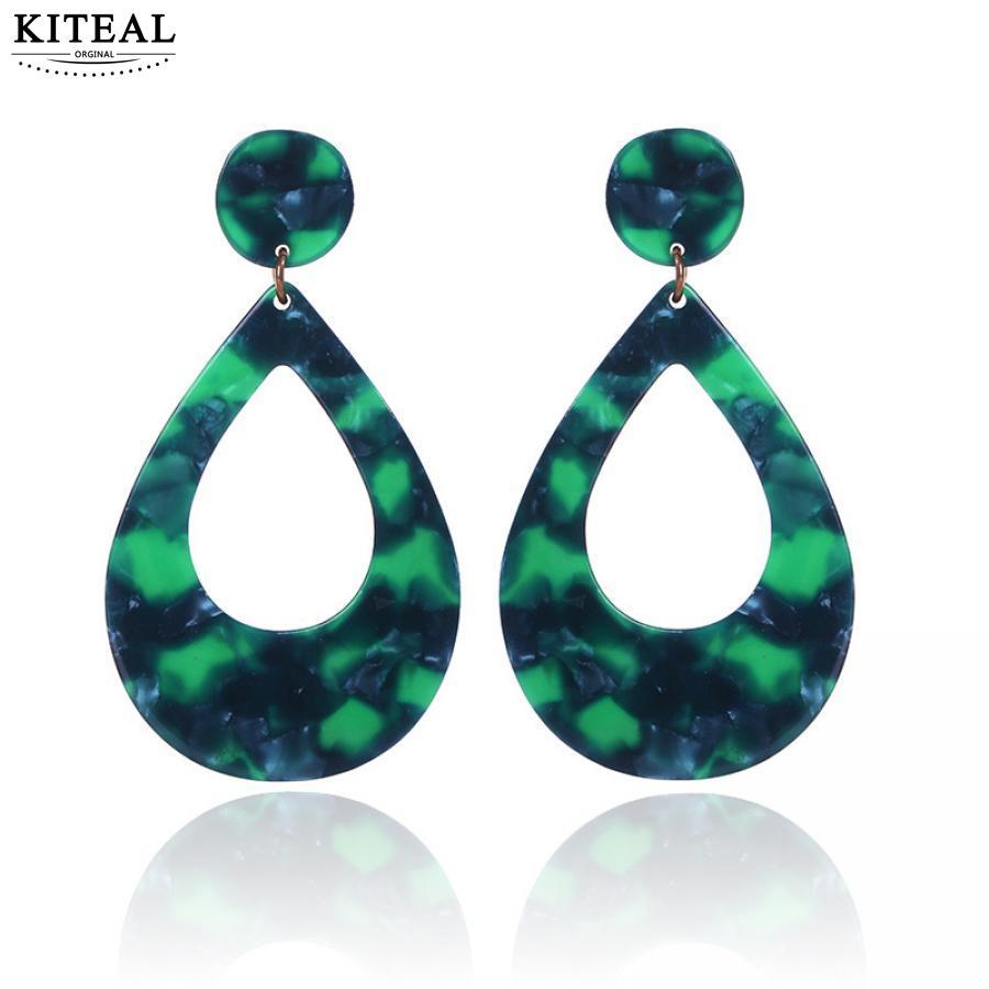 [해외]2018 NEW Trendy Fashion Leopard print waterdrop large green long Earrings Resin Acrylic Vintage Women Elegant Design Brincos/2018 NEW Trendy Fashi