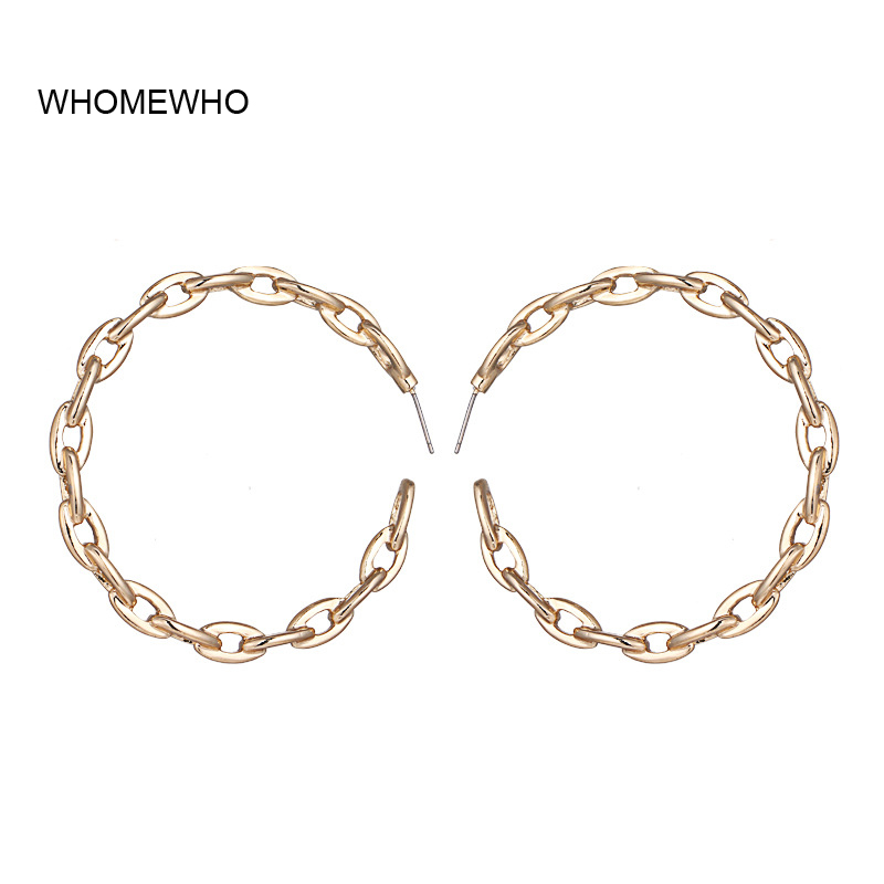 [해외]WHOMEWHO 60cm Gold Metal Chain Welding Punk Round Hoop Earrings Korean Fashion Bridal Wedding Party Ear Jewelry Golden Accessory/WHOMEWHO 60cm Gol
