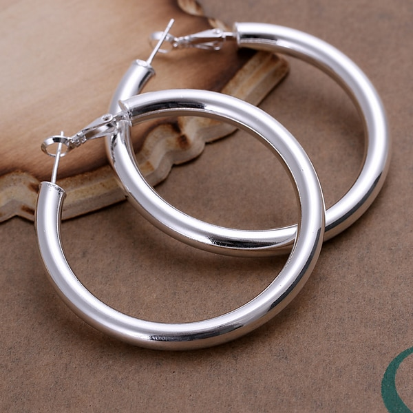 [해외] 925 Stamp silver color jewelry earings fashion jewelry 5mm 5CM Hollow hoop earrings brincos de festa horloge/ 925 Stamp silver color jewelry eari
