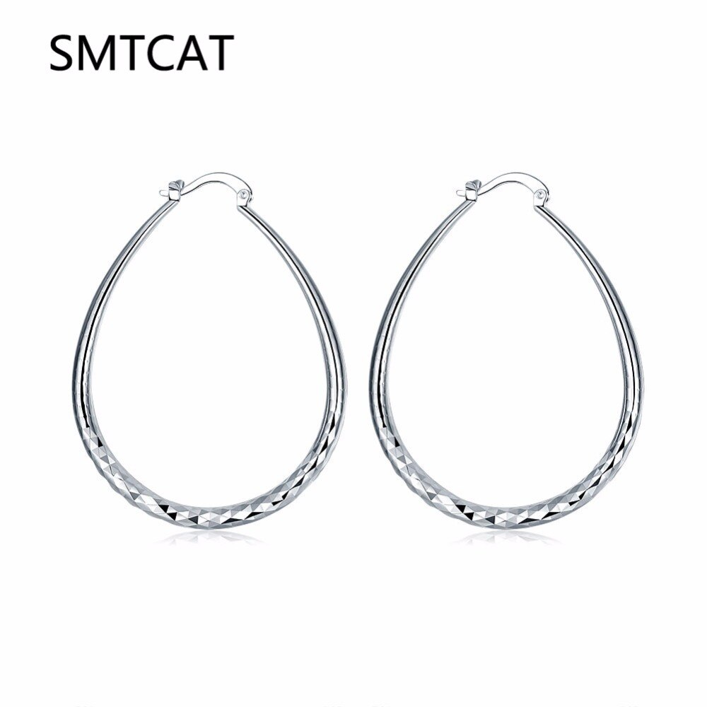 [해외]New Fashion 925 Jewelry Genuine Silver Color Hoop Earring for Women pendientes aros brincos boucle d`oreille Women Ear Loop Oval/New Fashion 925 J