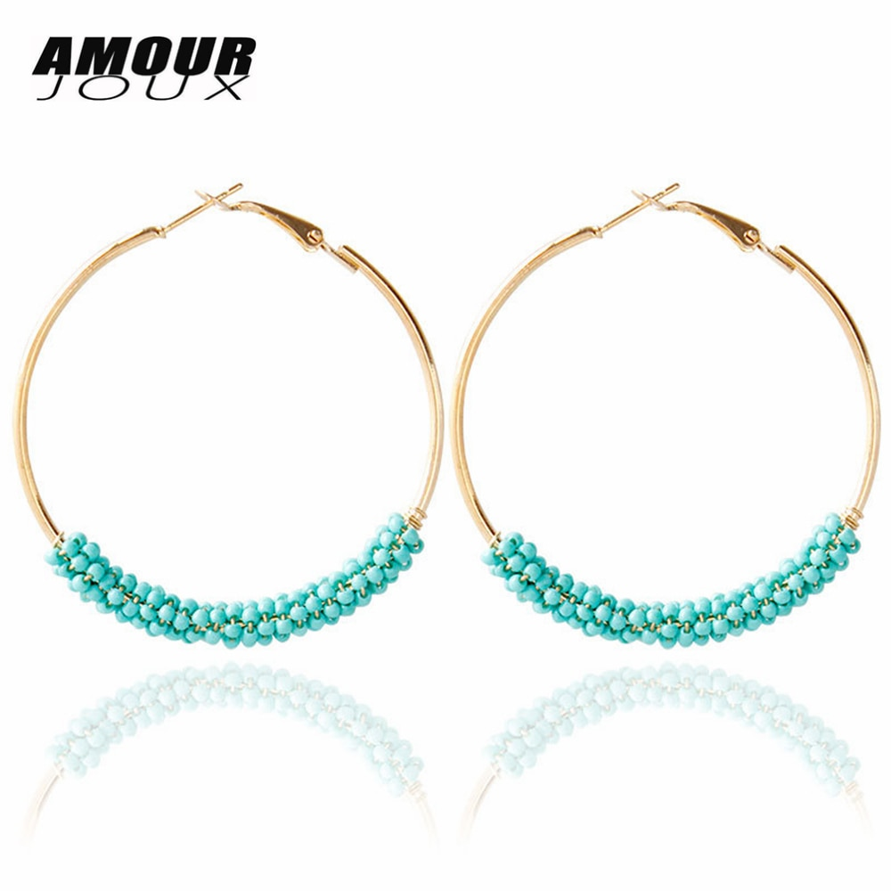 [해외]Big Colorful Beaded Gold Color Boho Round Hoop Earrings for Women Bohemian Earring Wholesales Drop ship/Big Colorful Beaded Gold Color Boho Round