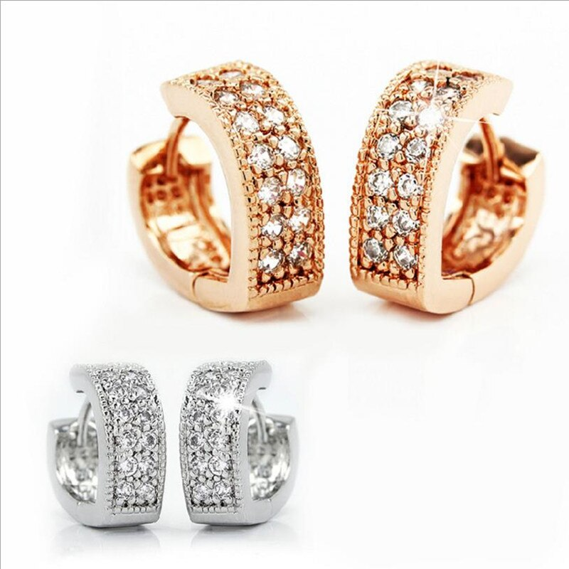 [해외]LUKENI Luxury Female Gold Austrian Rhinestones Heart Earrings For Women Jewelry Charm 925 Sterling Silver Hoop Earrings For Girl/LUKENI Luxury Fem