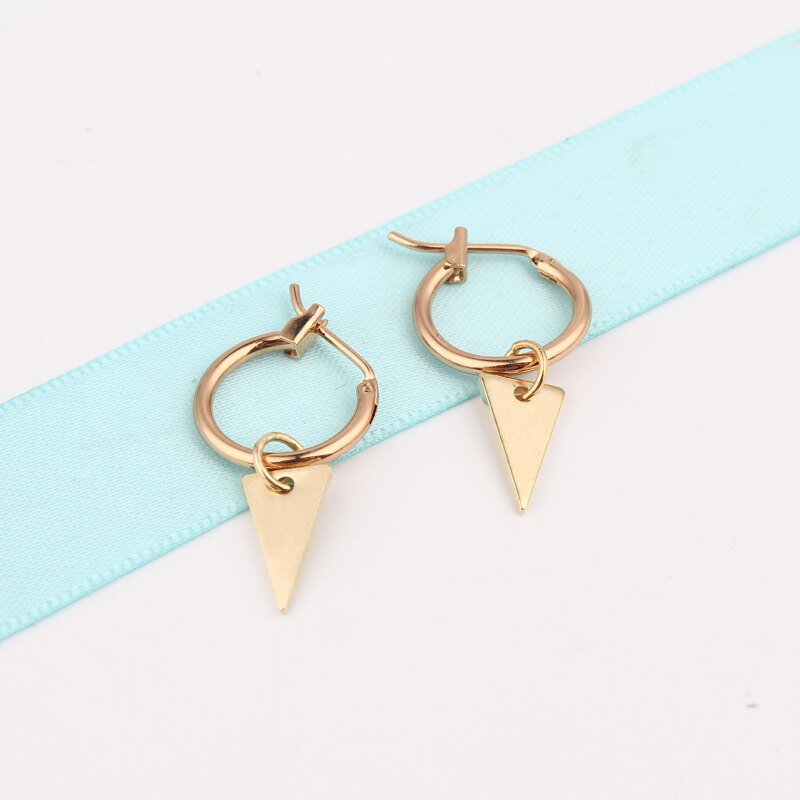 [해외]Hoop Earrings Small Charms Pendant Triangle Geometric Simple Minimalist Ear Jewelr Gold Silver Round Circle Hoop for Women 2018/Hoop Earrings Smal