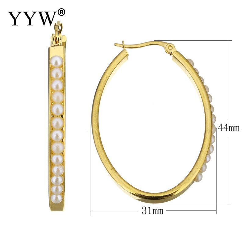 [해외]YYW 1Pair Gold-color Stainless Steel Hoop Earring Resin White Pearl Beaded Oval Circle Ear Loops Earrings Women Pendientes/YYW 1Pair Gold-color St