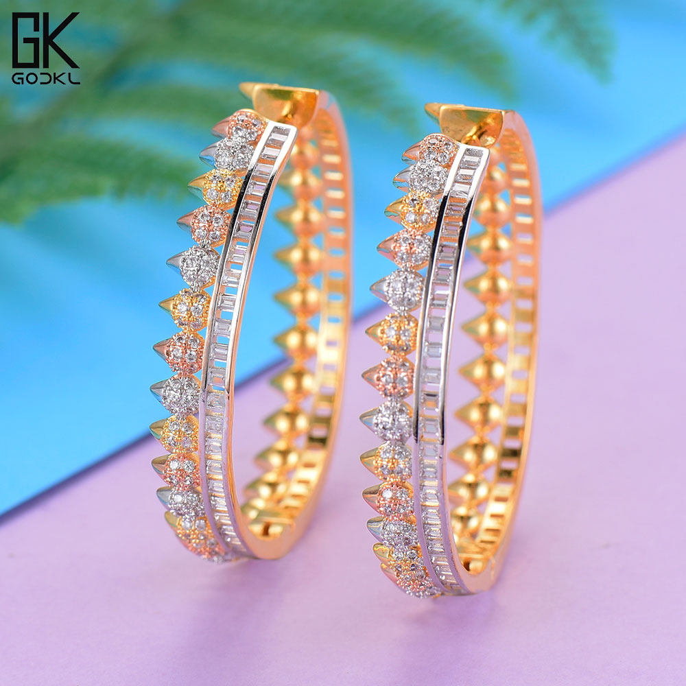 [해외]GODKI Luxury Round AAA Cubic Zircon Statement Big Hoop Earrings For Women Wedding DUBAI Bridal Round Circle Hoop Earrings 2018/GODKI Luxury Round