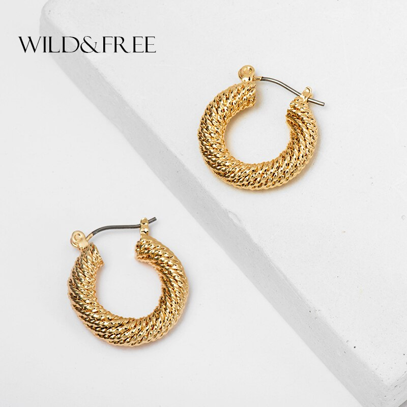[해외]Wild&Free Statement Gold Twisted Hoop Earrings India Jewelry for Women Geometric Circle Round Hoop Earrings Party Jewelry Gift/Wild&Free S