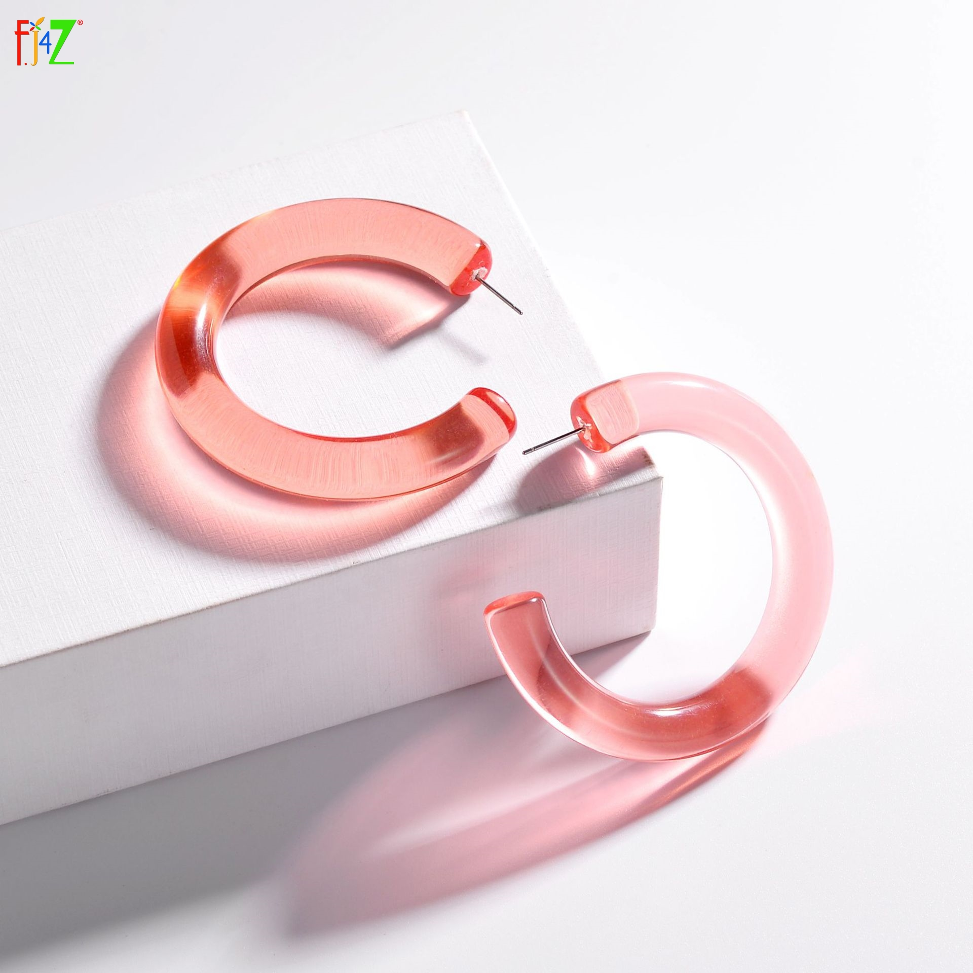 [해외]F.J4Z  Hoop Earrings for Women Simplicity Acrylic Open Earring Hoops C Shape Ear Accessories Minimalist Jewelry/F.J4Z  Hoop Earrings for Women Sim