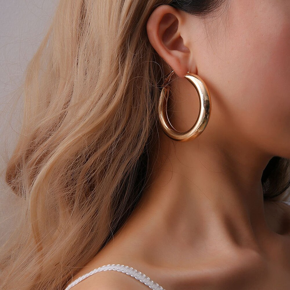 [해외]Women Earring Punk Rock Minimalist 50mm Thick Tube Big Gold Alloy Round Circle Hoop Earrings trendy earrings 2019 earring female/Women Earring Pun