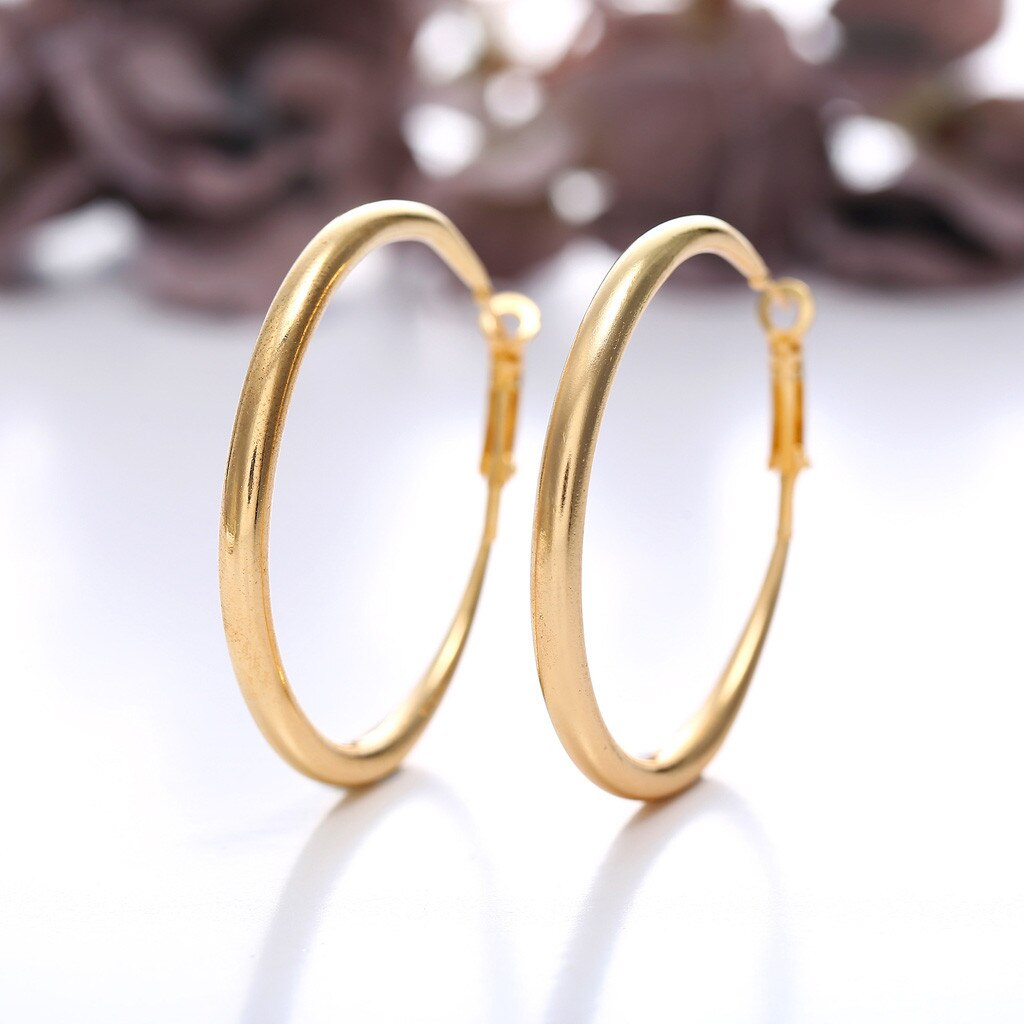 [해외]Women Earring Punk Rock Minimalist 50mm Thick Tube Big Gold Alloy Round Circle Hoop Earrings women earrings 2019 woman earring/Women Earring Punk