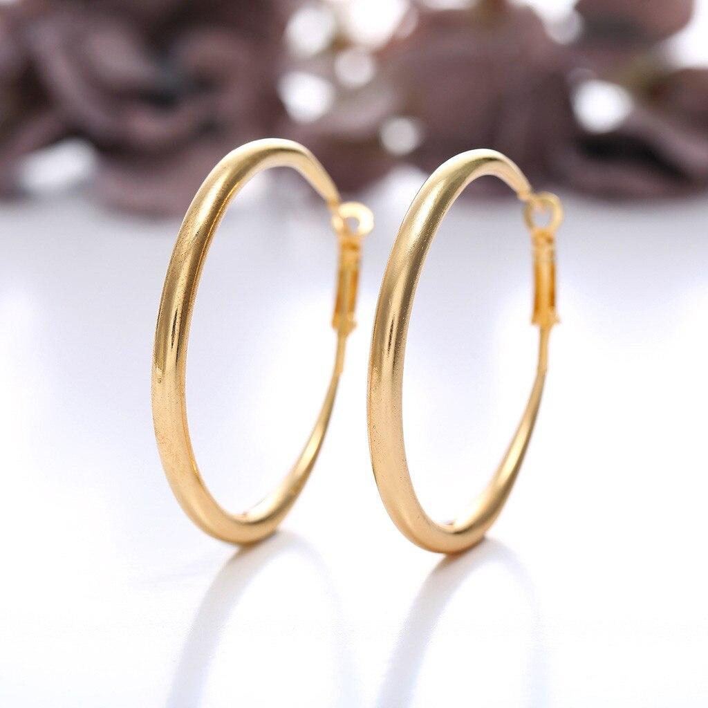 [해외]Women Earring Punk Rock Minimalist 50mm Thick Tube Big Gold Alloy Round Circle Hoop Earrings women earrings 2019 woman earring/Women Earring Punk