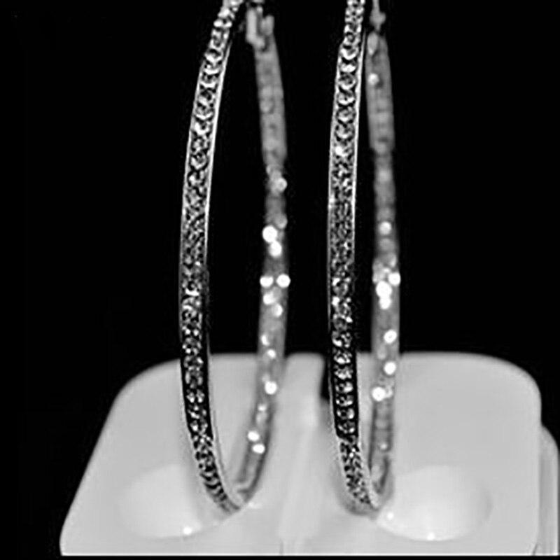 [해외]Yfjewe 실버 컬러 높은 세련된 후프 귀걸이 웨딩 파티 보석 도매 귀걸이에 대한 오스트리아 크리스탈로 포장  e005/Yfjewe 실버 컬러 높은 세련된 후프 귀걸이 웨딩 파티 보석 도매 귀걸이에 대한 오스트리아 크리스탈로 포장  e005