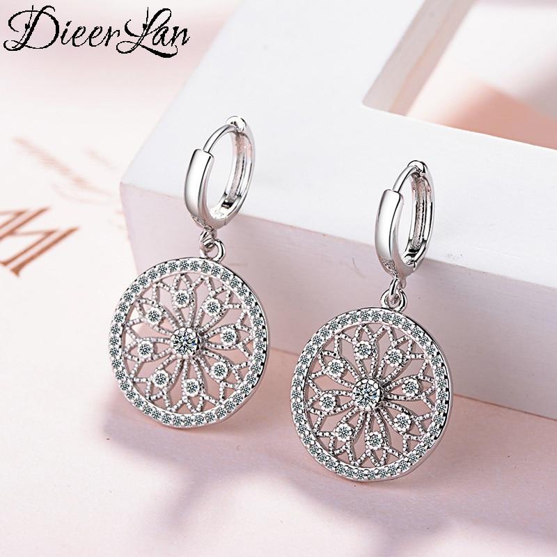 [해외]DIEERLAN Luxury Trendy 925 Sterling Silver Big Hollow Round Hoop Earrings for Women Wedding Statement Jewelry Brincos Pendientes/DIEERLA