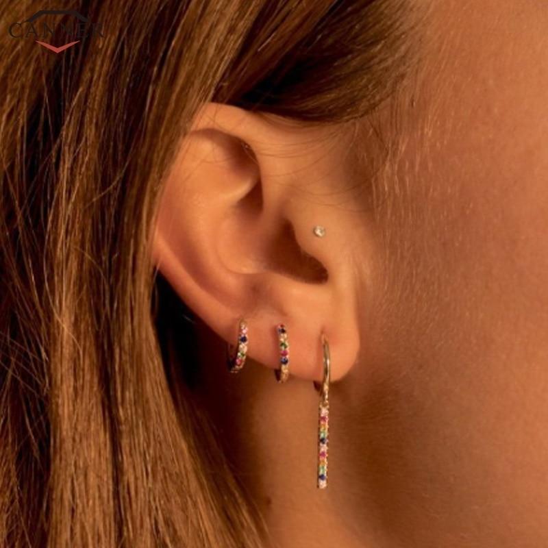 [해외]CANNER Small Hoop Earrings 925 Sterling Silver CZ Crystal Circle Earrings 2019 Jewelry Rainbow Zircon Earings Girls Gifts H40/CANNER Sma