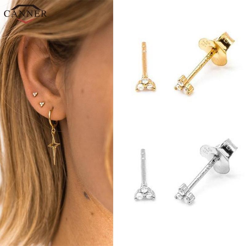 [해외]Gold Color Zircon Stud Earrings for Women Girls 925 Sterling Silver Mini CZ Crystal Stud Earrings 2019 Cute Tiny Earings Gift H4/Gold Co