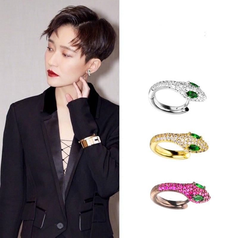 [해외]High Quality Colorful Crystal Zirconia Snake Earrings Punk Style White/Black Gold Color Small Hoop Earrings Jewelry/High Quality Colorfu