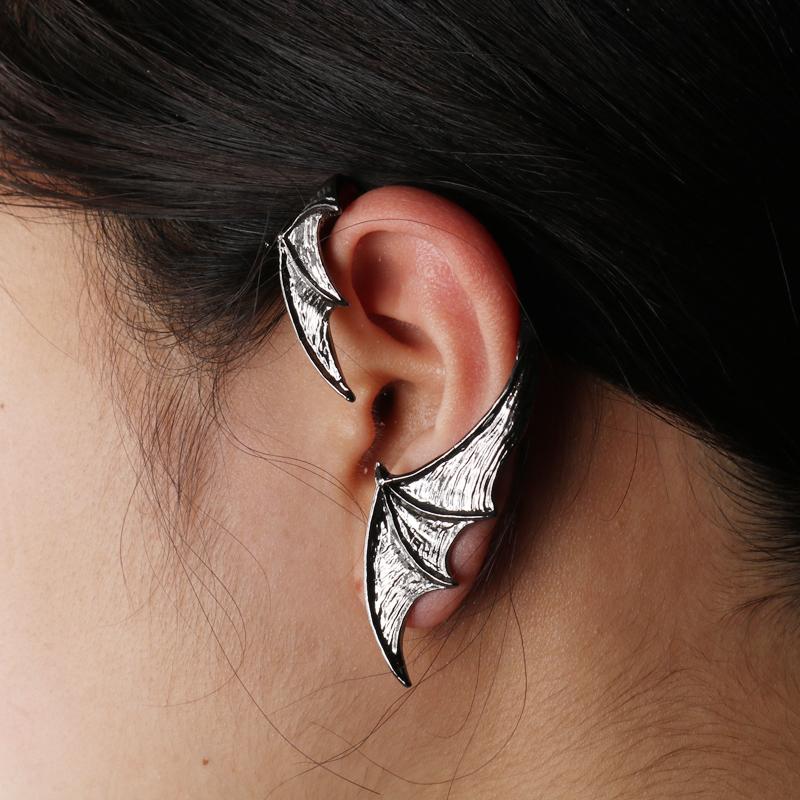 [해외]2 Pcs Bat Shaped Ear Clip Bat Wings Ear Cuff Clip On Earrings Choker Bat Earring For Women Adjustable Dangler Clip Earrings/2 Pcs Bat Shaped Ear C