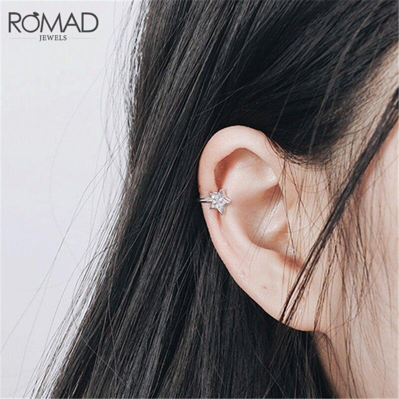 [해외]ROMAD New Cute Korean AAA CZ Zircon Little Star Non Piercing Clip Earring Ear Cuff Tragus Earring 2019 Femme Bijoux Brincos R4/ROMAD New Cute Kore