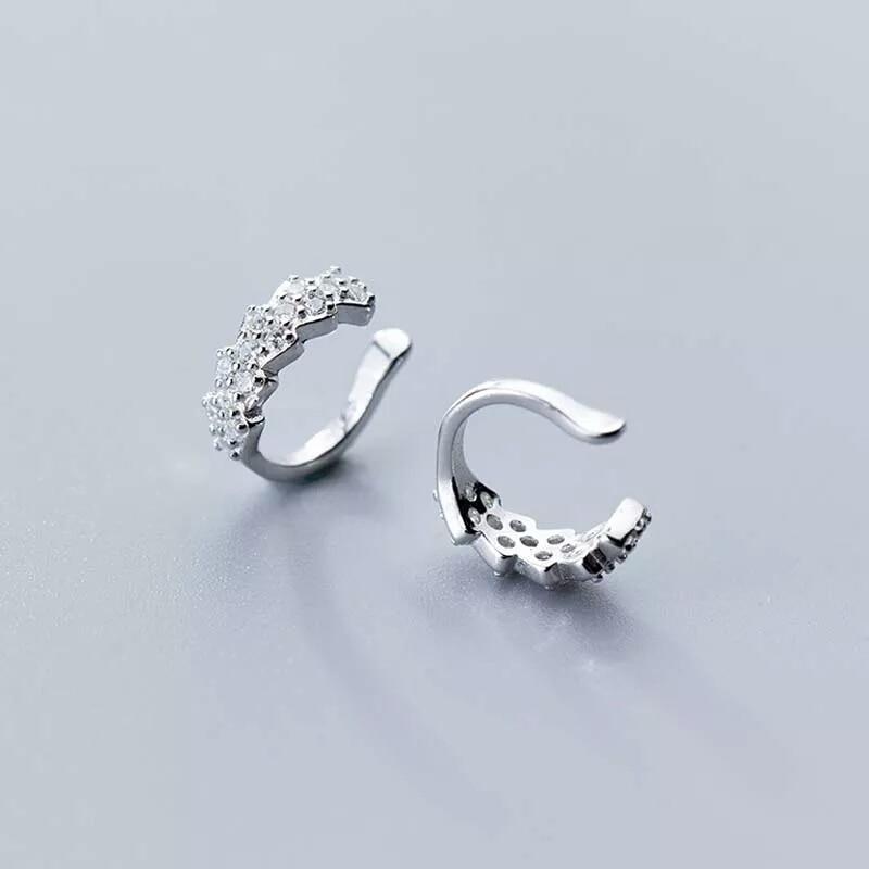 [해외]100% 925 Real Sterling Silver Sparkling CZ Ear Cuff Clip On Earring For Teen Girl Without Piercing Earring Trendy Jewelry G0827/100% 925 Real Ster