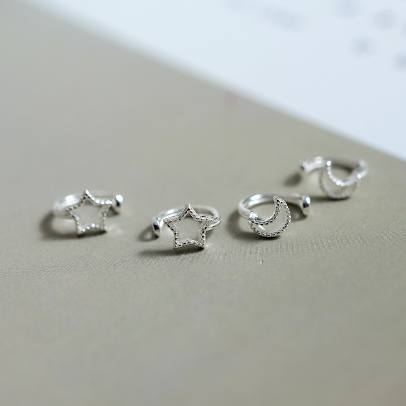 [해외]Fashion Korean 925 Sterling Silver 6mm Hollow Star Moon Ear Cartilage Cuff Clip on Earring for Women Without Piercing Jewelry/Fashion Korean 925 S