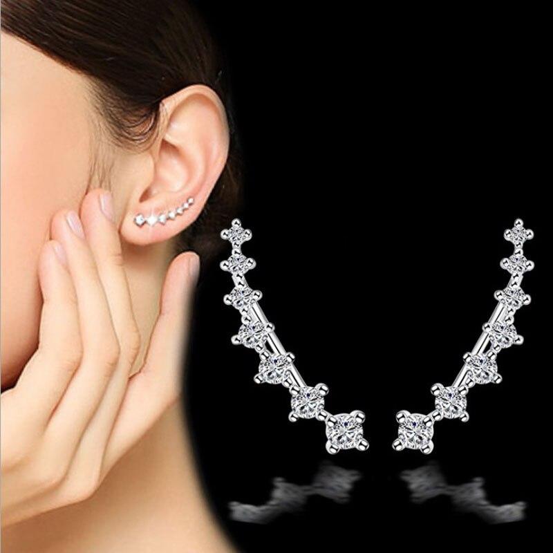 [해외]RONERAI Charm 925 Sterling Silver Earring Luxury Seven Star Cubic Zirconia Ear Clip Earrings For Women Fine Ear Jewelry Brincos/RONERAI Charm 925