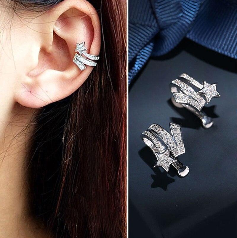 [해외] AAA Quality New Fashion Micro Mosaic Premium CZ Crystals Star No Ear Hole Silver Clip Earrings For Women/ AAA Quality New Fashion Micro Mosaic Pr