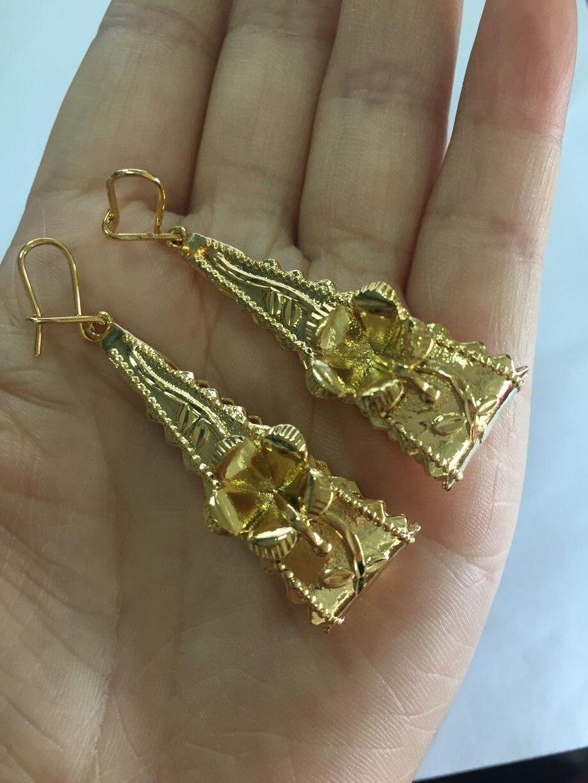 [해외]vintage 2018 New Trendy flower Arab/Africa/America Earrings for Women`s,Gold Color Bling Hanging Earrings Jewelry Africa Gift /vintage 2018 New Tr