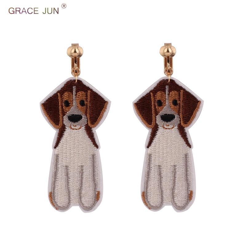 [해외]Handmade Big Dog Cloth Clip on Earrings Without Pierced for Women Fashion Luxury Animal No Hole Earrings Anti-allergy Bijouterie/Handmade Big Dog