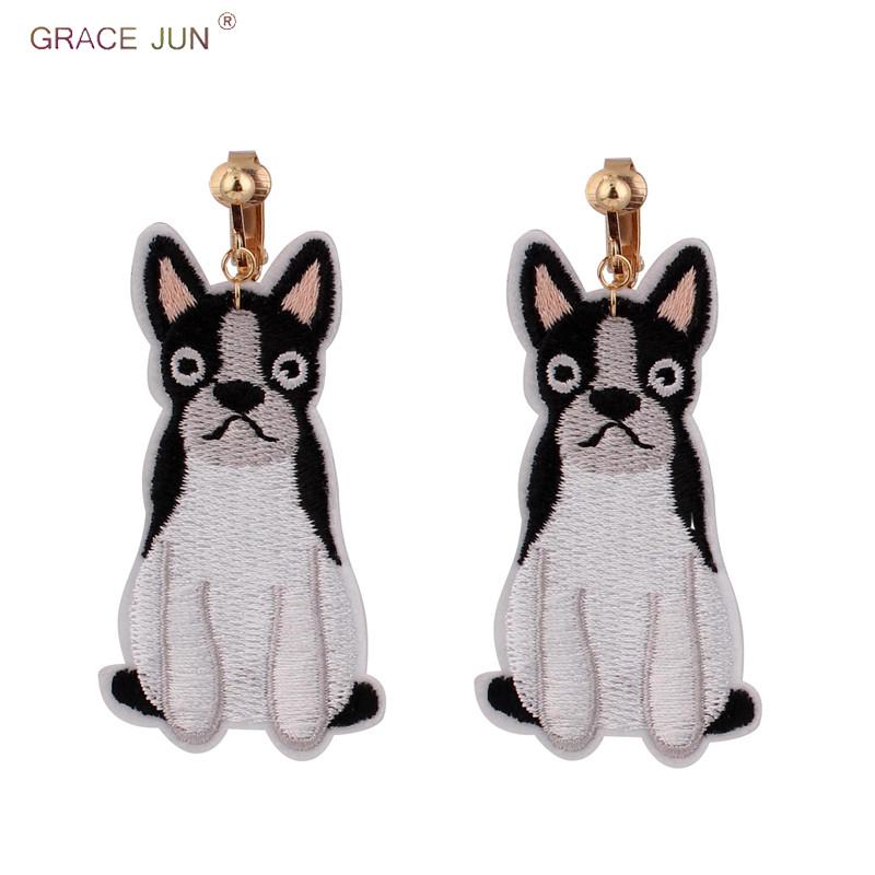[해외]GRACE JUN Vintage Balck Dog Clip on Earrings Without Pierced for Women Luxury Fashion Embroidery Animal No Hole Ear Clip Gift/GRACE JUN Vintage Ba
