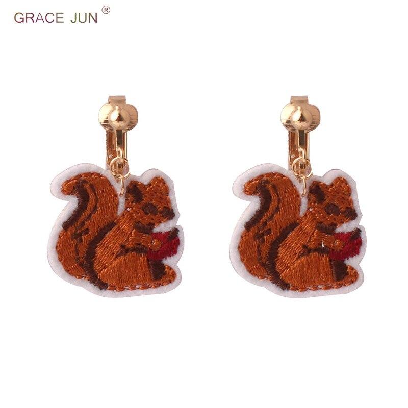 [해외]GRACE JUN Embroidered Little Squirrel Clip on Earring No Pierced for Women Student Party Prom Elegant Ear Clip Factory Wholesale/GRACE JUN Embroid