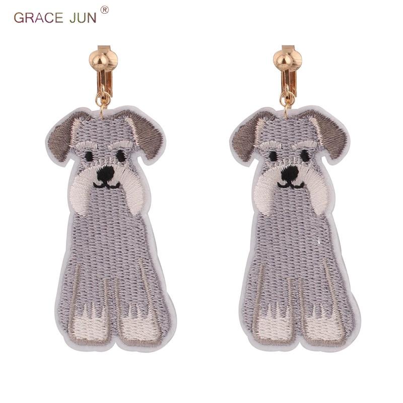 [해외]GRACE JUN High-grade Luxury Fashion Big Dog Clip on Earrings Without Pierced for Women Charm Jewelry Needn`t Ear Hole Earrings/GRACE JUN High-grad