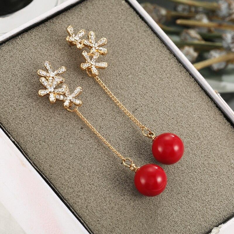 [해외]Bridal Wedding Earrings Rhinestone Flower Snowflake Long Earrings Red Pearl Clip On Earrings Non Pierced Ear Clips No Ear Hole /Bridal Wedding Ear