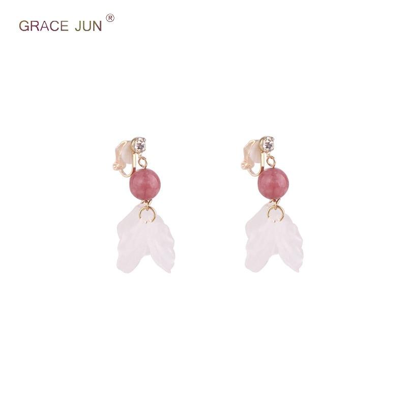 [해외]Korea Style Rhinestone Gold Color Stone Clip on Earrings Non Pierced for Girl Party Wedding Fashion Natrual Stone Petal Ear Clip/Korea Style Rhine
