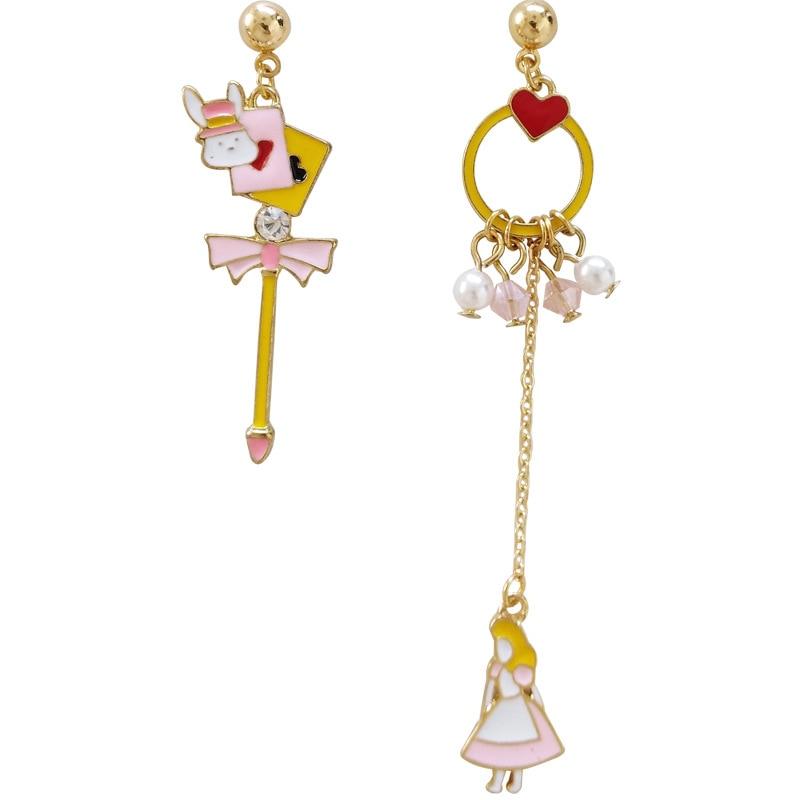 [해외]Fairy Tales Cute kawaii White Rabbit Alice in Wonderland Clip Earrings No Piercing Princess Heart Long Chain Poker Card Earrings/Fairy Tales Cute