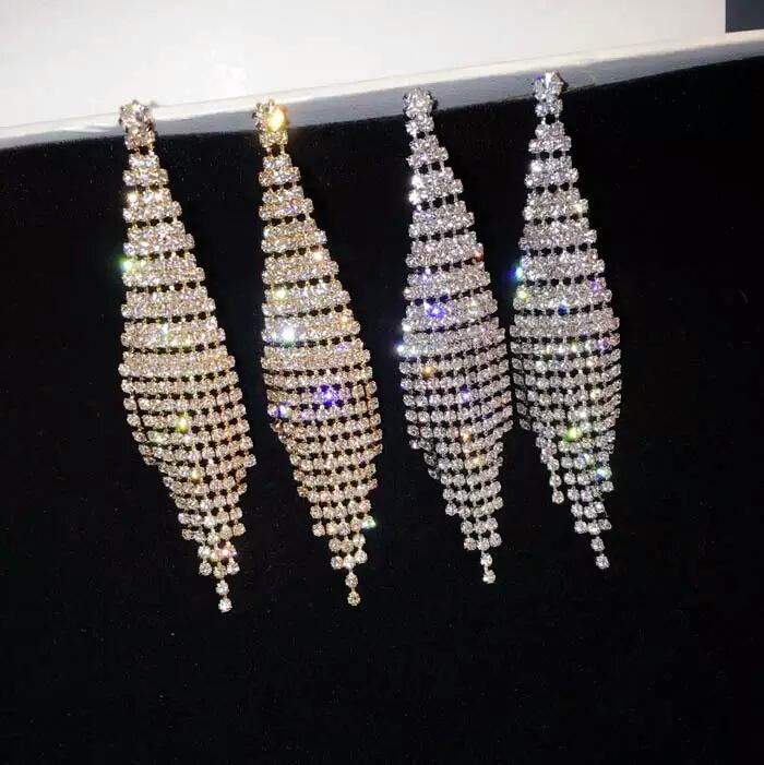 [해외]Vintage Tassel Drop Earrings Silver Gold Color Geometric Statement Earring Clip on Earring Non Piercing for Women Party Jewelry/Vintage Tassel Dro