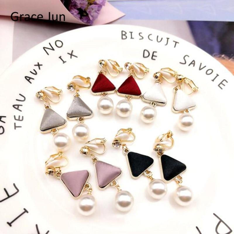 [해외]Grace Jun 6 Colors Available Simulated Pearl Pu Triangle Shape Clip on Earrings Non Piercing for Women Luxury  Piercd Earrings/Grace Jun 6 Colors