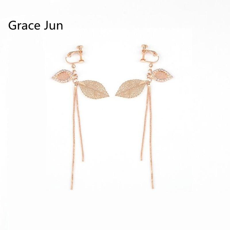 [해외]Grace Jun Gold Color Rhinestone Double Leaves Clip on Earrings No Pierced for Women Luxury Fashion Long Tassel Earrings Ornament/Grace Jun Gold Co