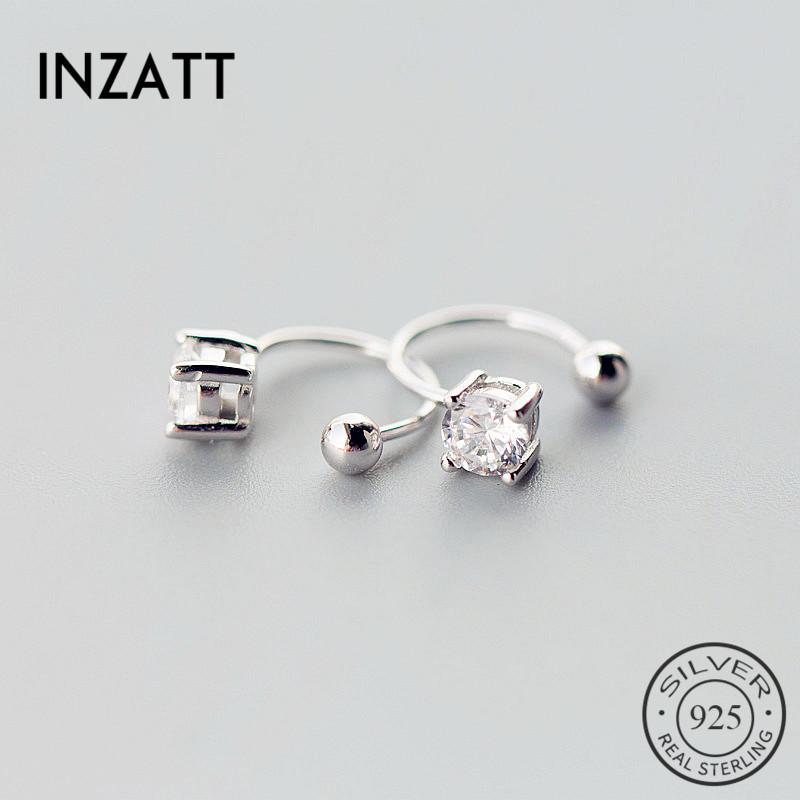 [해외]INZATT OL Romantic Zircon Clip Earrings  For Women Fashion Jewelry Accessories Gifts 2018 Black white Color 925 Sterling Silver/INZATT OL Romantic