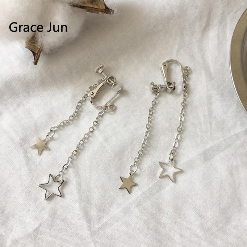 [해외]Grace Jun Double Star Tassel Clip on Earrings for Women Party Wedding Fashion Screw Cuff Earrings Anti-allergy Charm Jewelry New/Grace Jun Double