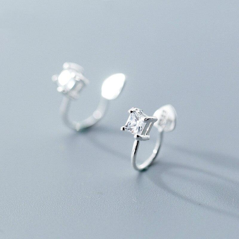 [해외]S925 Silver Ear Nail Female Japanese And Korean Fashion Geometry Square Drill Clamp Personality Earless Hole Jewelry/S925 Silver Ear Nail Female J