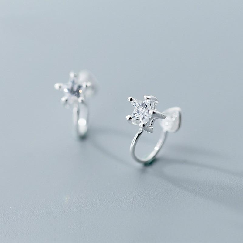 [해외]S925 Silver Ear Nail Female Korean Fashion Geometry Five-claw Single-drill Clamp Hole-free Jewelry Wholesale/S925 Silver Ear Nail Female Korean Fa