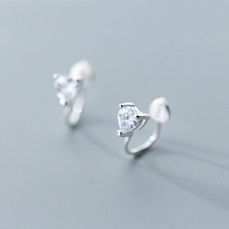 [해외]S925 Silver Ear Nail Female Korean Style Simple Creative Earless Hole Single Drill Heart Clamp Jewelry/S925 Silver Ear Nail Female Korean Style Si