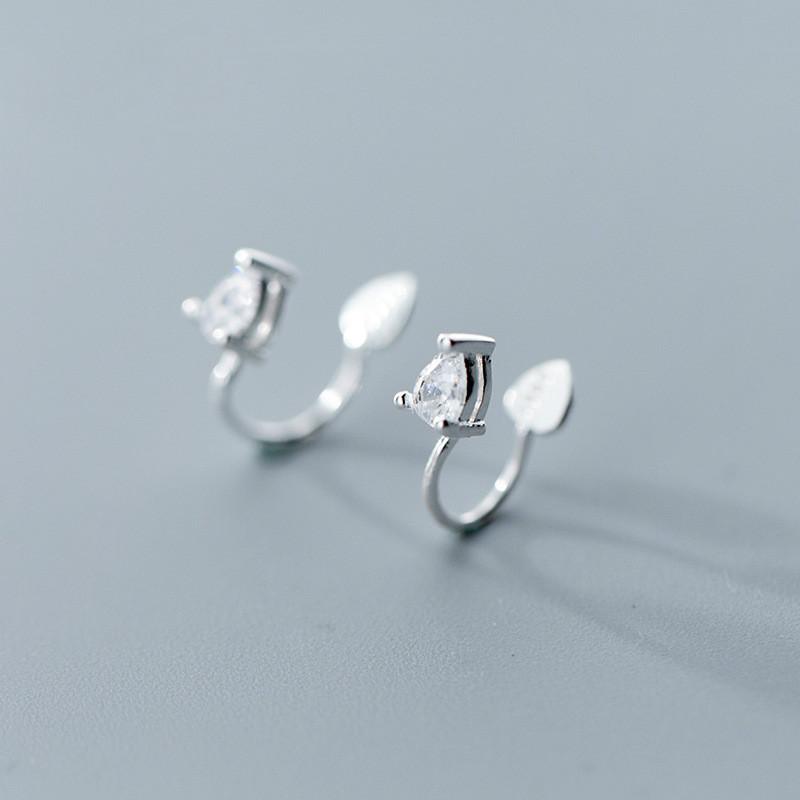 [해외]S925 Silver Ear Nail Female Japanese Fashion Sweet Temperament Water Drop Clamp Creative Hole Jewelry/S925 Silver Ear Nail Female Japanese Fashion