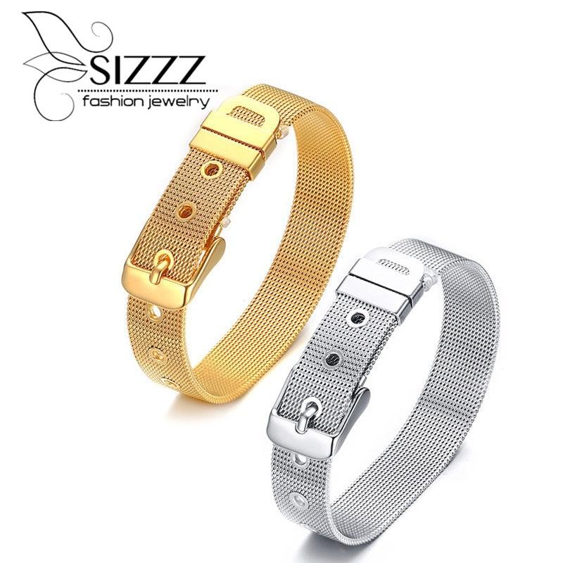 [해외]SIZZZ 12mm 와이드 티타늄 스틸 조절 가능한 스트랩 팔찌 & 팔찌/SIZZZ 12mm wide titanium steel adjustable strap bracelet&bangles for men