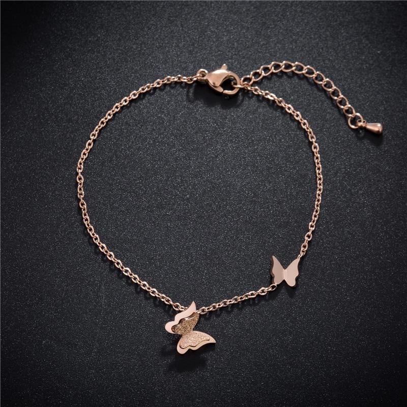 [해외]New Style Stainless Steel Fashion Frosted Butterfly Bracelet Rose Gold Wedding Bracelets Jewelry For Women Pulsera B18143/New Style Stainless Stee