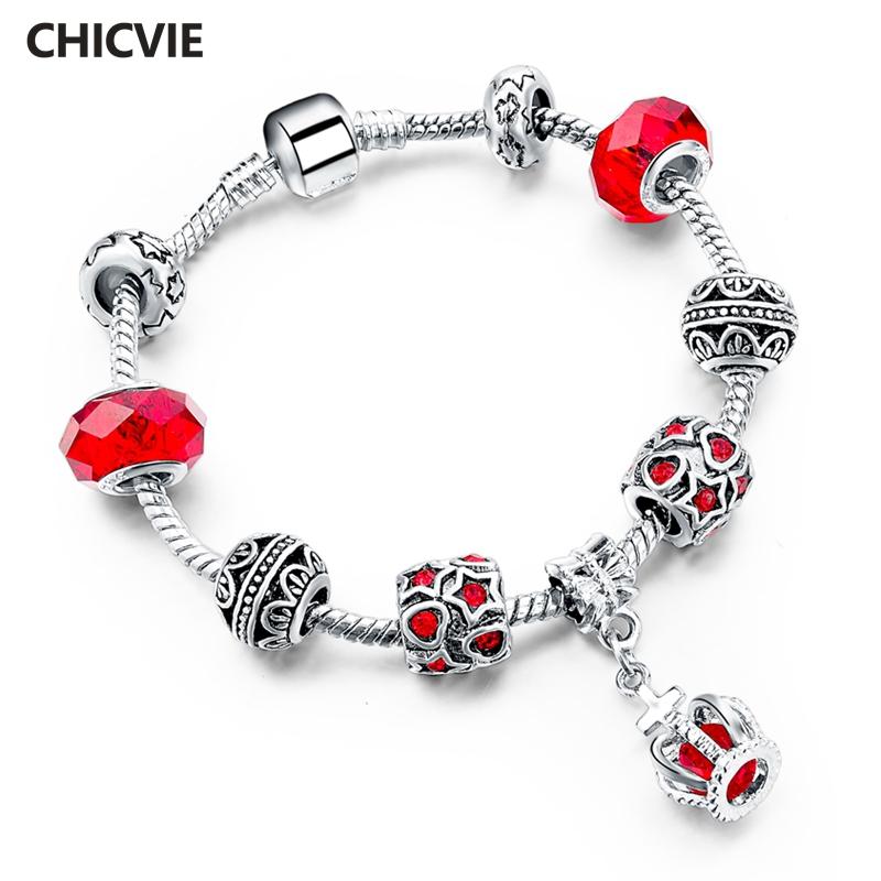[해외]CHICVIE Red Hollow Heart&Star Crown Bracelets Bangles Charm For Women Luxury Brand Bracelet Stainless Steel Bracelets SBR150294/CHICVIE Red Ho